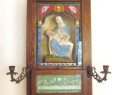 Vintage Religious Shrine Chalk ware Pieta Reliquary Statue