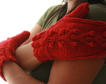 Cable knit mittens wool red Christmas winter holidays