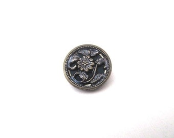 Brass Steel Button Picture Victorian Flowers 1800's Sewing Costume Design Floral Leaves 1pc