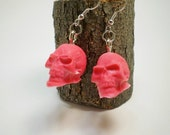 Acrylic Skull Earrings - Red and White - Hand Poured - 4th