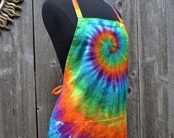 Tie Dye Apron, Organic Cotton canvas, Fair Trade, Cooks Apron, Artist's Apron, Chefs Apron
