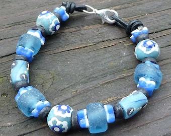 Pale Blue Recycled Glass Bracelet - Blue Krobo Beads, Blue Recycled Glass Beads, Black Leather Bracelet