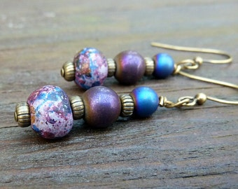Speckled Purple Earrings - Purple Glass Beads, Colored Brass Beads, Stacked Dangle Earrings