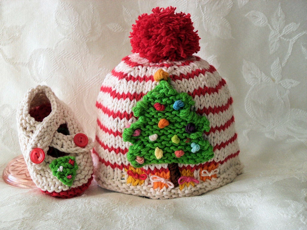 Christmas Tree Knitted Baby Hat Children by CottonPickings on Etsy