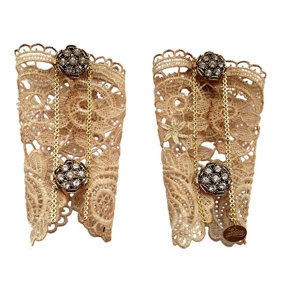 Gorgeous lace cuffs, Bridal bracelets, Wedding lace accessories.