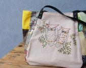 Woodland Owl Bag, Vintage Embroidery, Patchwork and Leather Bag with Owls
