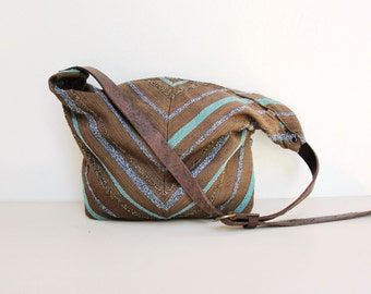 Chevron Leather Bag - Boho Aztec Arrow Purse - upcycled eco friendly