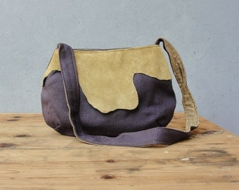 Leather and Linen Bag - Aubergine and Mustard