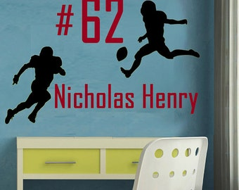 Football Wall Decal Personalized Monogram Childrens Decal