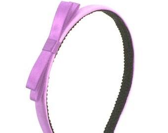 Orchid Bow Headband - Satin Skinny Headband Orchid Purple w/ Small Bow, Adult Headband, Little Girl Headband, Big Girl Headband