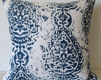 Navy blue damask throw lumbar or body pillow cover