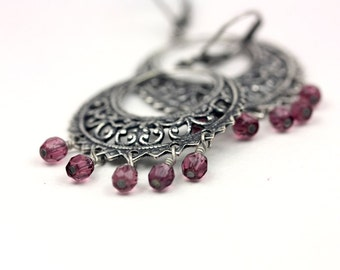 Antiqued Silver Chandelier Dangle Earrings with Dark Pink Czech Glass Beads, Silver Beaded Hoops, Vintage Jewelry