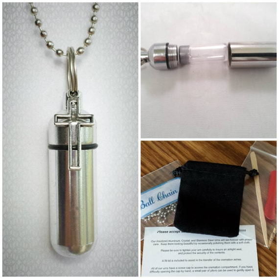 """COMPLETE SET - Cremation Urn & Vial on 24"""" NECKLACE  with Silver Hollow Cross - Custom Hand Assembled.... With Velvet Pouch and Fill Kit"""