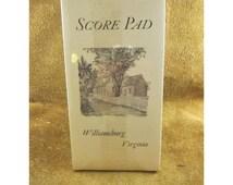 Williamsburg, VA Pencil Illustrated Boxed Bridge Scoring Set – Score Pad & Tallies – Unused Vintage Bridge Card Game Accessories