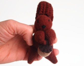Toy Squirrel, waldorf toy, natural eco friendly plush stuffed animal, red squirrel