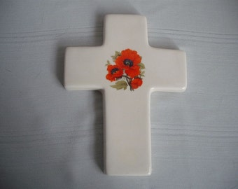 Small Ceramic Cross with Red Poppy Flower / 3