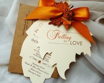 Fall Wedding Invitations, Autumn Wedding Invitations, Leaf Invitation, Invitation Suite, Invitation Set, Invitation Rustic, Wedding Invites