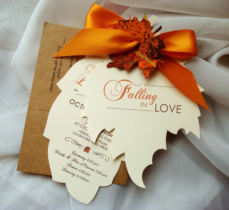 Fall Themed Wedding Invitations: Fall Wedding Invitations Autumn Wedding Invitations Leaf