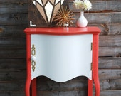 Coral and White Side Table with Grey and White Inside