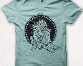 Womens Tshirt, Graphic Tee, Lion, Lion Shirt, Forest and Fin, Screenprint T - Aqua