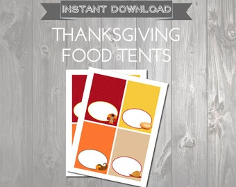 Printable Thanksgiving Food Tents- Food Labels - Thanksgiving Buffet Cards - Thanksgiving Labels with Turkey - Instant Download - Pie Label