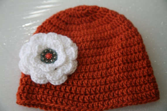 crochet toddler girls hat 18 to 24 months acrylic with flower beanie brown white gift idea children baby girls