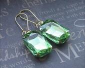 Peridot Glass Earrings Green Rhinestone Drop Earrings Cut Glass Earrings Wedding Jewelry Bridesmaid Earrings Square Peridot Earrings Gift