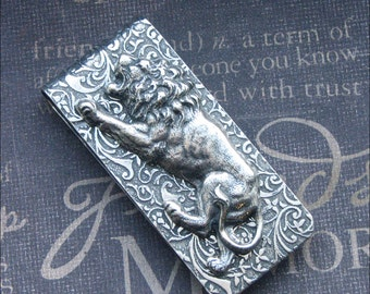 Money Clip Silver Lion Money Clip Vintage Style Money Clip Mixed Metals Father's Day Gift Groomsmen Wedding Clip Money Holder Card Holder