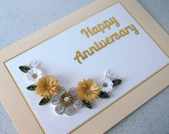 Quilled anniversary card, handmade, gold, white flowers