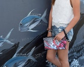 10.5 x 6.5 - Octopus Double Zipper Clutch with Leather wrist strap - Tattoo Art by Keahi Raikes