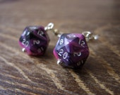 Miniature D20 pink black dice earrings mini dice earring dice jewelry pathfinder dungeons and dragons mini die jewellery polyhedral dice