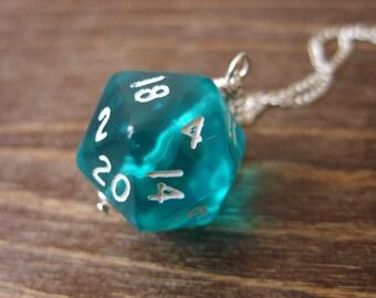 blue D20 dice pendant dungeons and dragons pendant mint dice teal pendant D20 translucent pendant turquoise dice jewelry transparent geek
