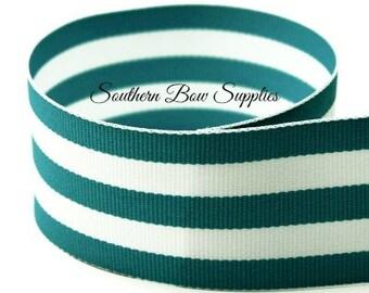 1.5 inch Grosgrain Ribbon-------3 Yards-----Stripes-----Teal White------Hair bow Making Supplies