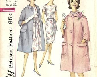 New listing Simplicity 4338 Coat Dress sz 12 Vintage 1950's
