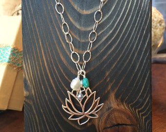 Sterling Lotus flower necklace with hammered chain