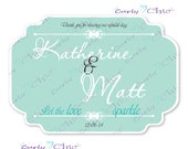 Let the love Sparkle Wedding Stickers  -Personalized Stickers or Labels for your Favors -Choose Size-