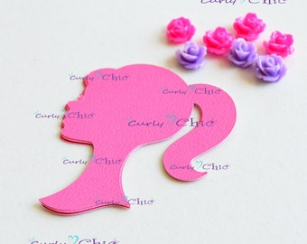 "72 Barbie Silhouette Die cuts 2.50"" In Non-textured or Textured Cardstock paper"