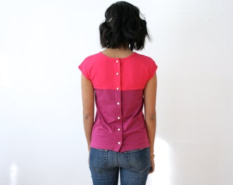 ColorBlock Tshirt, Color Block Casual Top, Womens ColorBlock Tee, Organic Bamboo Top, Organic Handmade Tshirt, Button Up Pink Tee - CHLOE