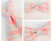 Puppy Dog Bow-tie Coral and Gray Geo Chevron