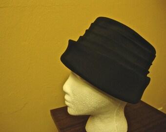 Vintage Black Pleated Pill box Hat