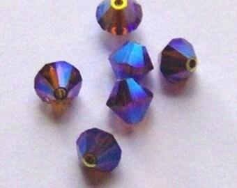 Swarovski Crystal Beads 4mm BICONE crystal beads Amethyst AB2X