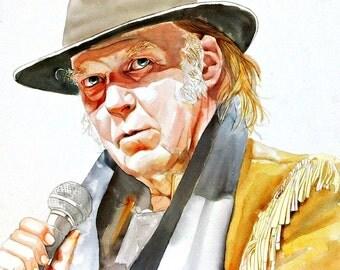 ART, Neil Young, print from original art watercolor portrait painting, rock star, custom watercolor portrait, portrait art