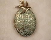 Long Blue Locket Floral Necklace, Oval Flower Pendant, Gold Bird Necklace, Long Locket, Long Bird Locket Pendent Necklace
