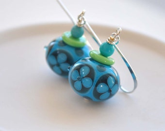 Flower Earrings, Blue Earrings, Lampwork Glass Earrings, Dangle Earrings