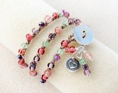 Knotted Wrist Wrap Bracelet in Pinks, Coral, Purples, Peridot, Sterling Silver Heart Charm, Fiber, Necklace, Anklet, Crochet Jewelry
