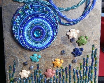 Under The Ocean Sculptural Mosaic Bead Art with Display Easel
