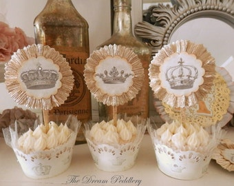Toppers Royale. Six Parchment Vintage Crown Cupcake Toppers, Appetizer Picks