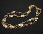 Vintage Delicate Gold Plated Clear Lucite Beaded Chain Station Necklace