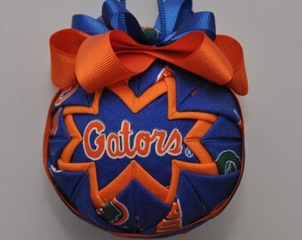 Florida Gators Quilted Christmas Ornament Ball - Football Sports - Handmade Gift