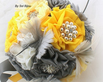 Brooch Bouquet, Yellow, Gray, Pewter, Ivory,  Vintage Wedding, Wedding Bouquet, Bridal Bouquet, Jeweled, Feather Bouquet,Lace Bouquet,Pearls